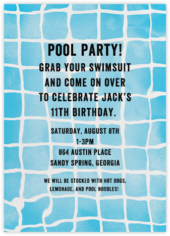 pool party invitations  online and paper  paperless post, Party invitations
